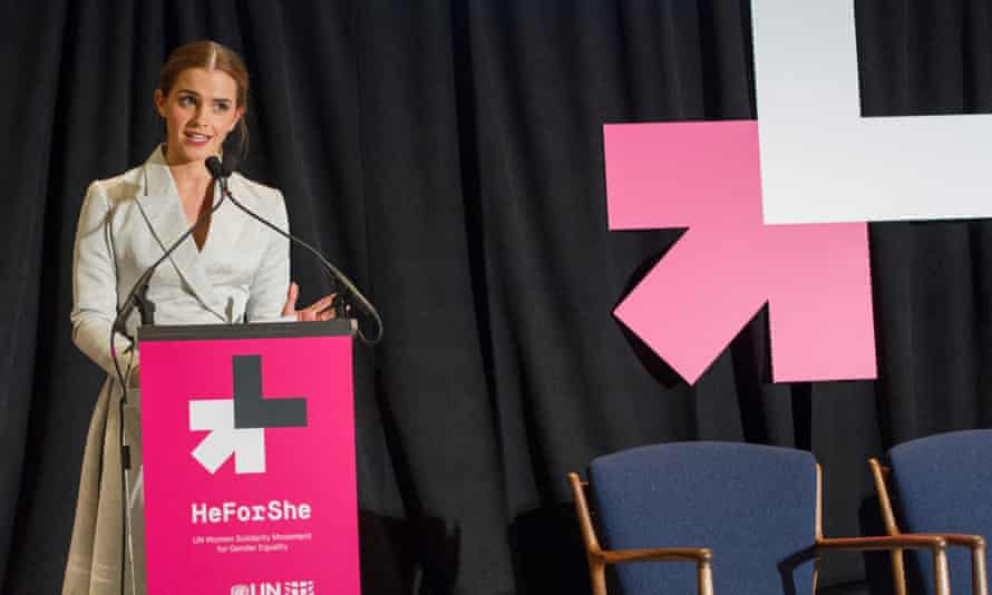 Emma Watson at the podium at the UN's HeForShe event