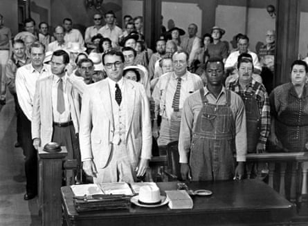 Gregory Peck as Atticus Finch and Brock Jones as Tom Robinson in the 1962 film adaptation of <em>To Kill a Mockingbird</em>.