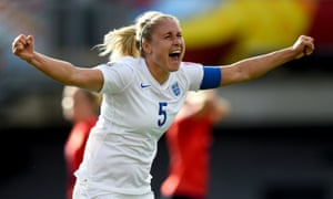 Steph Houghton celebrates after scoring against Norway.