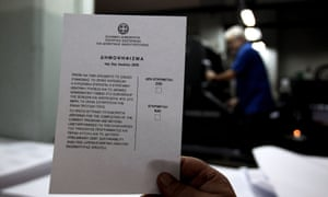 Ballot paper for 5 July referendum, in Athens, Greece.