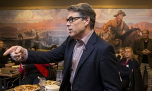 Rick Perry addresses voters during a meet and greet event at Pizza Ranch in Sioux Center, Iowa.