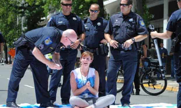 Stefanie Doucette was one of 14 women arrested during a rally at the California state capitol in support of a bill that would allow childcare providers to unionize.