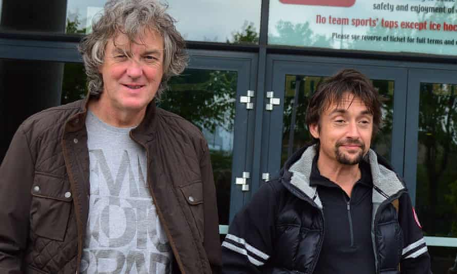 Former BBC Top Gear presenters James May and Richard Hammond arrive at the Belfast Odyssey Arena for their live show with Jeremy Clarkson