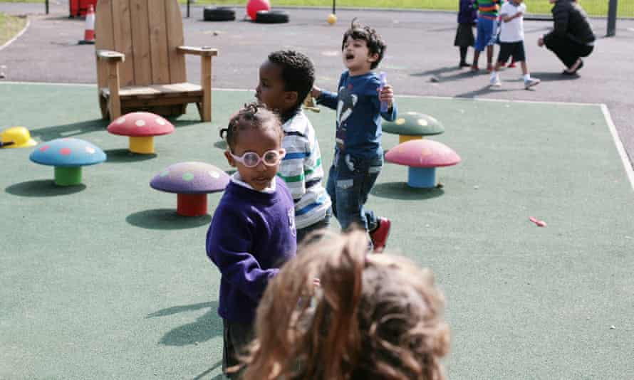 Young pupils play at school