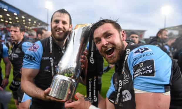 Tommy Seymour, left, and Ryan Wilson celebrate after Glasgow beat Munster to win the Pro 12 title.