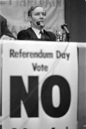"""Industry Secretary Tony Benn leaves no question to his views on the EEC at a public meeting of the """"Get Britain Out Campaign"""" at Acton Town Hall."""