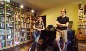 Liza Lerer and her husband at her apartment in Moscow