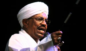 Sudan's Omar al-Bashir speaks to the crowd after a swearing-in ceremony at green square in Khartoum.