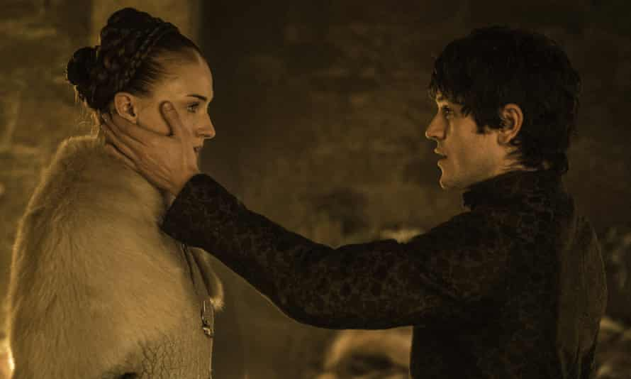 Sansa Stark (Sophie Turner, left) and her attacker Ramsay Bolton (Iwan Rheon) in season five of Game of Thrones.