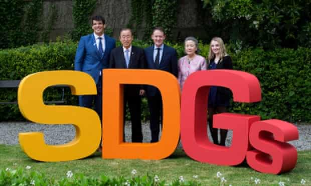 UN secretary-general Ban Ki-moon, second left, has given world leaders a video pep talk before the summit in Addis Ababa fwhich will decide how to finance the sustainable development goals.