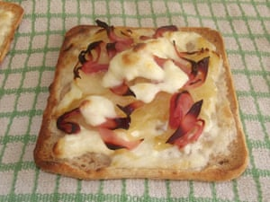 A french-German flatbread like a thin, crispy pizza, which is delicious with bacon and cheese.