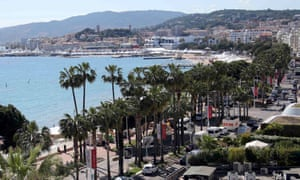 A general view shows the Croisette and the bay of Cannes