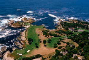 An aerial view of the 15th, 16th and 17th holes at Cypress Point.