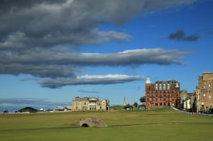 A look up the short, yet potentially nightmarish 18th hole on the Old Course at St Andrews.
