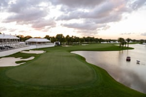 A scenic view of the 18th green on the Blue Monster Course at Doral in Florida.