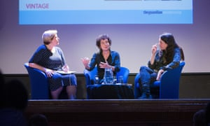 Guardian critic Alex Clark, Jeanette Winterson and Helen Macdonald, at Guardian Live: Between the Lines. Islington Assembly Rooms, 3 June 2015.