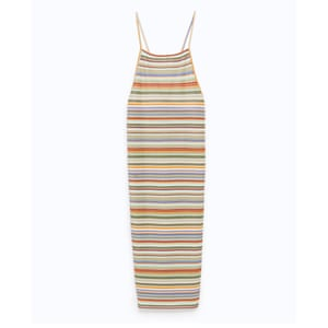 50 best summer dresses - ribbed strappy midi dress in all over multi colour stripes by Zara