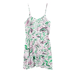 50 best summer dresses -strappy mini dress with all over pink, green and black abstract print by Monki