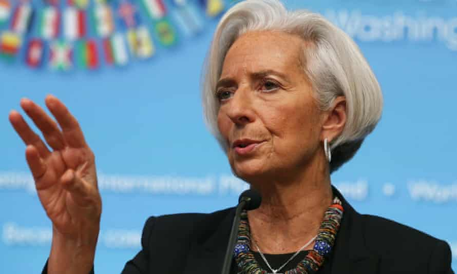 Christine Lagarde, managing director of the IMF, speaks at its headquarters in Washington.