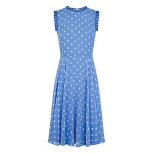 50 best summer dresses - light blue sleeveless midi dress with white polka dots and blue lace trim on sleeves and neck by Hobbs