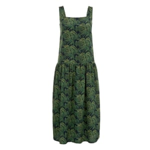 50 best summer dresses - black pinafore style midi dress with all over green palm leaf print by house of Hackney