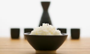 rice and sake on a table