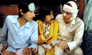 Schwartzman (centre) with Adrien Brody and Owen Wilson in The Darjeeling Limited, which Schwartzman co-wrote