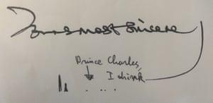 Prince Charles letter