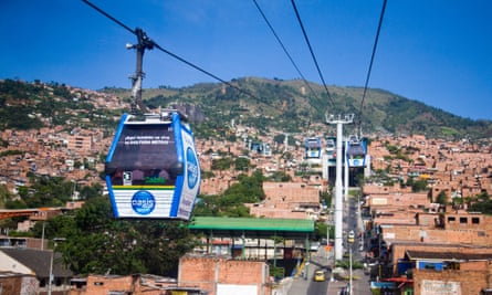 The cable car linking Santo Domingo with Medellín, Colombia.