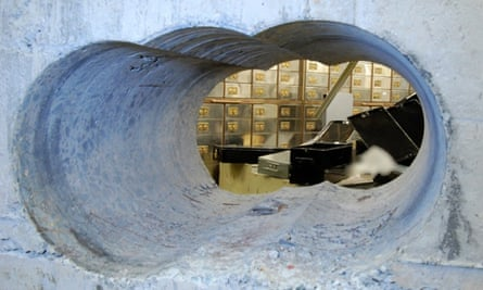 Police photo of holes bored through the wall of a safe deposit centre in Hatton Garden, Easter 2015.