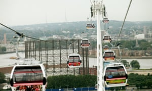 The UK's first urban cable car, which opened in 2012, crosses the Thames in London between North Greenwich and the Royal Docks at Canning Town.