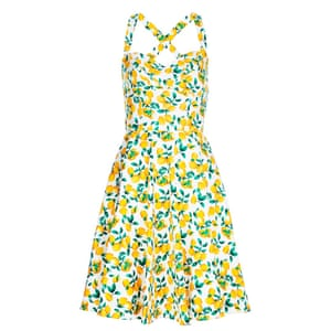 50 best summer dresses - white 50's style halterneck frock with all over lemon print by Joy