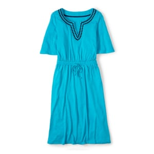 50 best summer dresses - turquoise blue dress with black embroidery by Boden