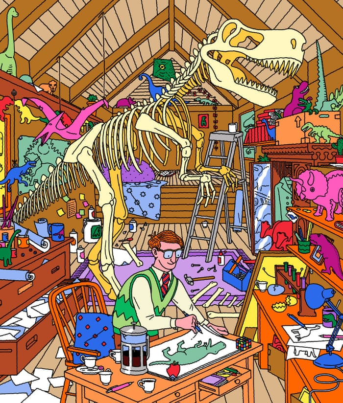Dinomania The Story Of Our Obsession With Dinosaurs Books The - Cartoon mural man obsessing facebook likes says lot society