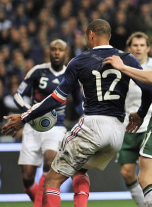 Thierry Henry and his infamous handball at the Stade de France in 2009.