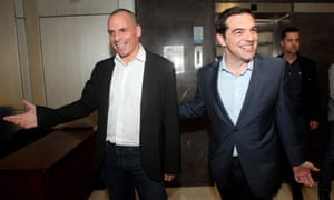 Yanis Varoufakis and Alexis Tsipras arrive at the finance ministry in Athens
