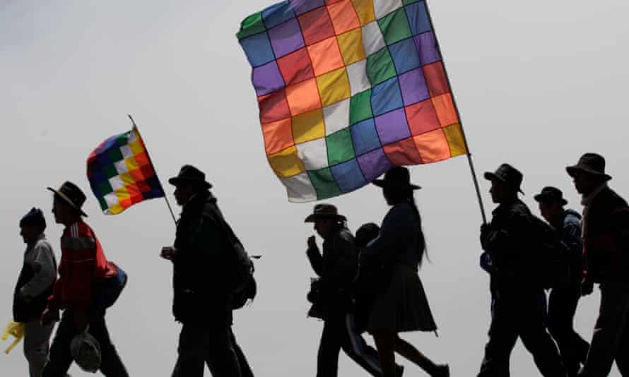 Protesters marching against a proposed highway through Bolivia's Isiboro Secure National Park and Indigenous Territory. TIPNIS, as it is known, is now also threatened by hydrocarbons exploration following a new law.