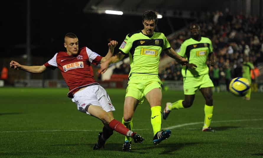 Jamie Vardy shoots while playing for Fleetwood Town in a 2011 FA Cup tie against Yeovil.