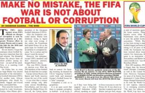 Jack Warner's Sunshine newspaper on Fifa allegations.