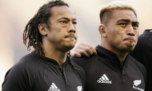 Tana Umaga and Jerry Collins watch on during the national anthems prior to the Investec Challenge match between England and New Zealand at Twickenham on 19 November 2005.