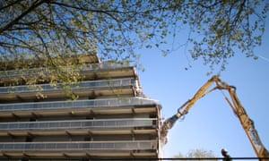 A public housing estate being demolished
