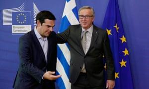 Greek prime minister Alexis Tsipras and EC president Jean-Claude Juncker.