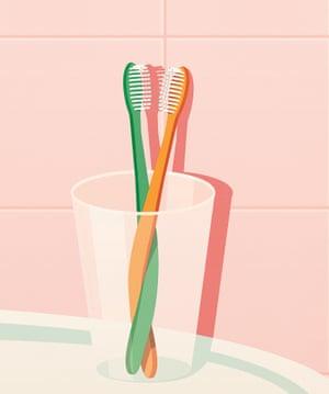 Toothbrushes cohabiting illustration