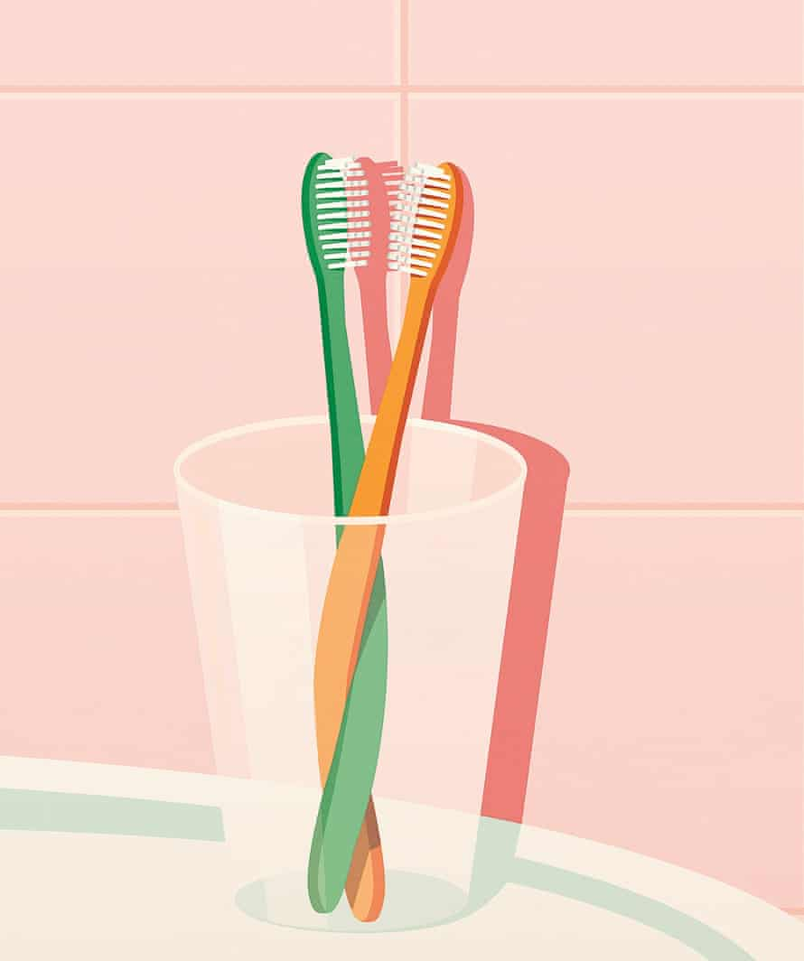 Toothbrushes cohabiting illustration