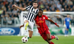 Andrea Barzagli, left, halts Didier Drogba of Galatasaray during a Champions League match in 2013.