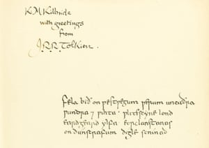 Tolkien's message in Old English to former student Kitty Kilbride. The book sold for a record £137,000 at Sotheby's in London