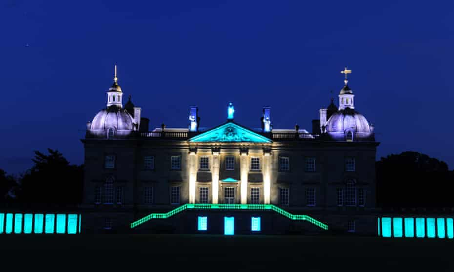 James Turrell lights up the west facade of Houghton Hall in Norfolk.