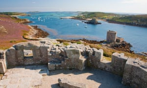 The view from Tresco's King Charles's Castle over Cromwell's Castle to Bryher, the smallest of the inhabited islands
