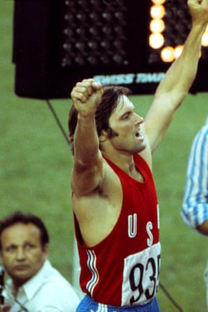 Jenner wins a gold medal at the 1976 Montreal Olympics. His agent described his client as having 'the face of Robert Redford and the body of Tarzan'.