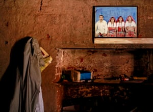 A picture of Bhagat with his wives can be seen on a wall inside their house